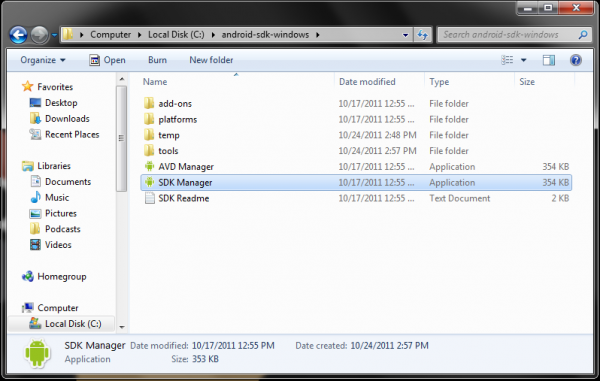 how to install android sdk on windows 7